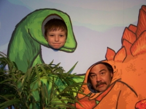 Joe and Pete as Dinosaurs